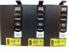 3PK T252XL Black Ink Cartridge for Epson WorkForceWF3620 WF3640 WF7110 7610 7620