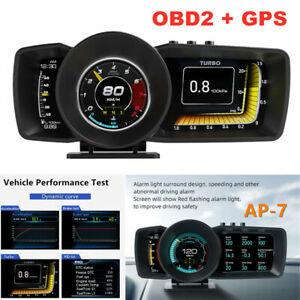 OBD2+GPS HUD Gauge Head Up Car Digital Display Speedometer Turbo RPM Alarm Temp