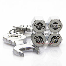 4Pcs Car Accessories Tire Valve Caps Valve Dust Cover Wrench Keychain For NISSAN
