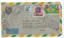 1945 Rio de Janeiro Brazil Registry Airmail Wwii Censored Warner Bros