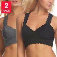 Felina Women's 2 Pack Lace T- Back Design Bralette  Black & Gray