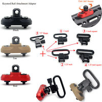 Black/Red/Tan Keymod Rail Adapter Attachment Mount 1/1.25'' QD Sling Swivel Set