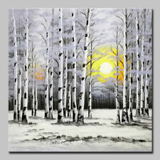 Mintura Hand Oil Paintings on Canvas A Forest of Birch Trees Home Decor Wall Art