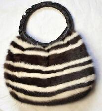 2in1 Nerz Muff Tasche Pelz Vintage Mink Bag Handwärmer Streifen Wollweiß Braun