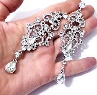 Rhinestone Chandelier Earrings Bridal Wedding Jewelry Pageant Prom Clear 4.2 in