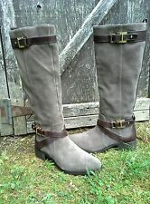Louise Et Cie Riding Boot York Double Buckle  Suede 9/39 Grayish Taupe $259 CHIC