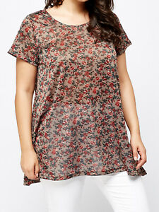 Womens New Ivans GREY Multi Floral Print Side Split Tunic Top Plus Size 30/32