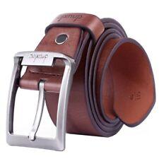 Dnuxlou Uomo in pelle Cintura Singolo Prong Affari Fibbia in metallo(marron M5H8