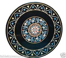 """24""""x24"""" Black Marble Top Side Table Marquetry Outdoor Mosaic Inlay Bedroom Decor"""
