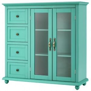 Buffet Sideboard Table Kitchen Storage Cabinet with Drawers and Doors-Green - C