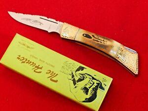 Parker Cut Co MIB The Hunter smooth burnt bone custom filework lockback knife dg