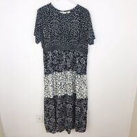 Orvis Floral Black White Tiered Short Sleeve Maxi Dress XL