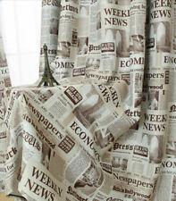 Art Cafe Curtain Newspaper Printed Blackout Fashion Ready Window Door Drape 1 pc