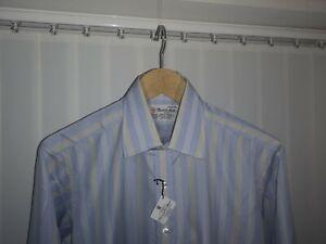 Men's Turnbull & Asser Shirt Stripe 15.5'' double cuffs NWT