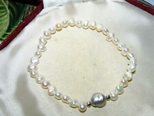 """Beautiful natural cultured 6mm white pearl and silver pearl  bracelet 8 """""""