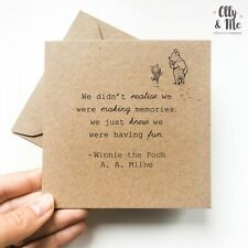 Winnie the Pooh Inspirational/Positivity Quote Card Friend Miss You/Leaving