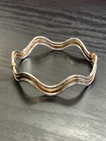 Vintage Avon Gold Silver  Tone Wavy  Cuff Bracelet Patterned Pretty