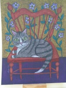 Cats Ollietuxedo Original Gray Tabby Cat in the Red Chair Chair 8x10