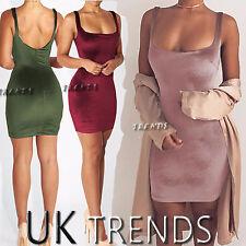 UK Womens Velvet Plunge Bodycon Ladies Strappy Party Mini Dress 6-14