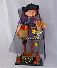 "19"" Halloween Pumpkin Patch Witch figure with black veil & corn broom bobblehead"