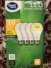 4 PACK LED 100W = 15W Soft White 100 Watt Equivalent 1600 lumen A19 2700K bulb