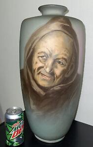 """Huge 18"""" Weller Matte Perfecto Dickensware Signed Ferrell Monk Vase"""