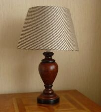 TABLE LAMP DARK WOOD WITH NEUTRAL DRUM SHADE