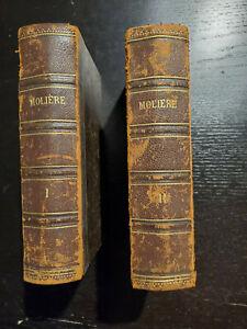 Livres anciens littérature 1885 - Oeuvres complètes de Molière - 2 tomes