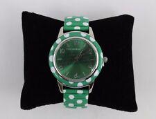 Isaac Mizrahi Green & White Polka Dot Stainless Steel Round Face Watch