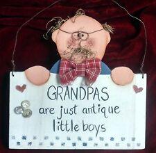 "Wooden Wall Decor of Grandpa - ""GRANDPAS are just antique little boys"", 10.75""T"