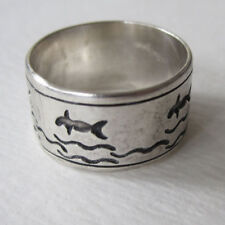 STERLING SILVER DOLPHIN WHALES WAVES RING BROAD BAND  SIZE 8 1/2 THAILAND