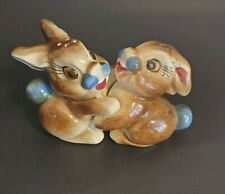 Vintage Hugging Bunny Rabbit Salt and Pepper Shakers Japan Easter Spring Thumper
