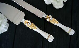 White and Gold Cake Server for Wedding Cake Knife Set Crystal Cake Cutter