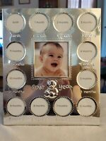 """PHOTO FRAME: Silver Color BABY'S FIRST YEAR Picture Frame 7 1/2"""" x 9 1/2"""" Cute"""