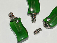 1 Crystal Perfume S vial pendant glass bottle SCREW CAP great for Necklace Green