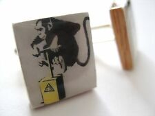 Banksy Cufflinks Monkey Bomber Banksy Cufflinks Graffiti Art Handmade Uk Gift