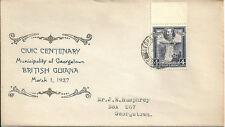 British Guiana 1937 Georgetown Centenary souvenir cover with 4c KGV definitive