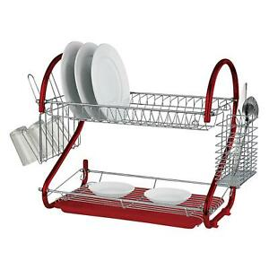 Red 2 Tier Chrome Plate Dish Cup Cutlery Drainer Rack Drip Tray Plates Holder