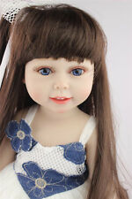 Hot Cute Reborn Baby Bambole Gift Long Hair Girl Doll Silicone Vinyl Newborn 18""