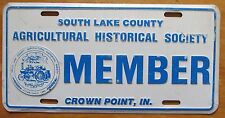 1998 SOUTH LAKE COUNTY INDIANA AG HISTORICAL SOCIETY BOOSTER License Plate