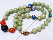 VINTAGE CHINESE APPLE GREEN JADE CARVED CARNELIAN JET BEAD NECKLACE silver clasp