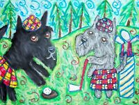 SCOTTISH TERRIER Playing Golf in a Kilt Dog Pop 8 x 10 Signed Giclee Art Print