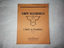 GREY SQUIRRELS No 3 of THREE PIECES Op. 30 For Piano Vintage SHEET SCORE MUSIC