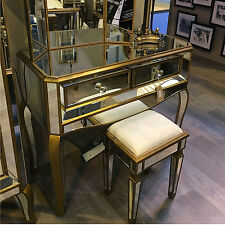 Venetian Gold Antique Bronze Mirrored Glass 2 Drawer Dressing Hall ConsoleTable