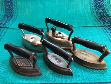 """Lot 5 variety small wood-handled antique cast iron sad Pressing irons Dover 3-4"""""""