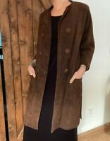 Vintage 60s 70s Babydoll Brown Suede Leather Coat Boho Hippy Pockets Retro Small