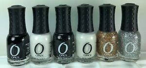 6 Orly Miniature Nail Polish White Black Glitter Gold Silver Shimmer Summer Fun