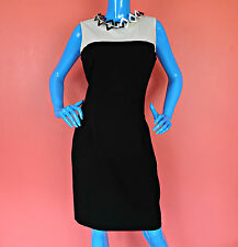 Calvin Klein Slimming Color Block Career Dress 10 M Sheath Sleeveless Fitted