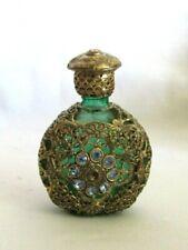 1920 Vintage Czechoslovakian Jeweled Mini Perfume Bottle Green Glass Aquamarine