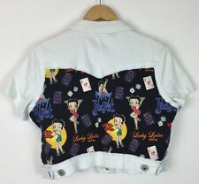 VINTAGE 90'S CROP SLEEVELESS DENIM JACKET BETTY BOOP FESTIVAL RETRO URBAN S